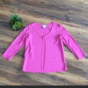 LOFT Pink 3/4 Sleeve V-Neck One-Button Cardigan